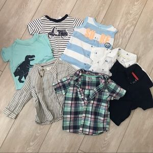7 piece size 6m shirt and romper collection.